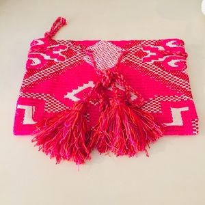 New Never Worn Boho Pink Fringe Clutch